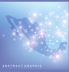 abstract map of mexico global network connection vector image