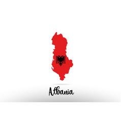 Albania country flag inside map contour design vector