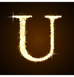 Alphabets u gold glittering stars vector