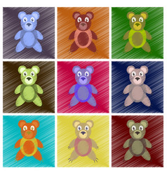 assembly flat shading style icons toy bear vector image vector image