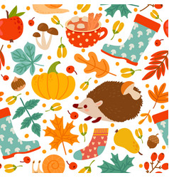Autumn seamless pattern drawing pumpkin nuts vector