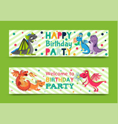 Badragons banners invitation card vector