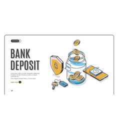Bank deposit isometric landing page web banner vector