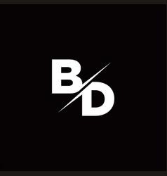 bd logo letter monogram slash with modern logo vector image
