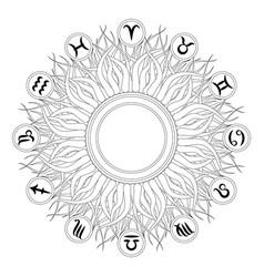 Black and white mandala zodiac symbols vector