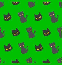 black cat halloween seamless pattern flat design vector image