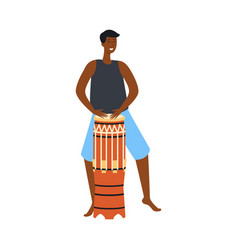 black man playing ethnic drum and dancing flat vector image