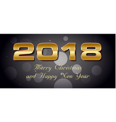 bokeh 2018 happy new year card with gold text vector image