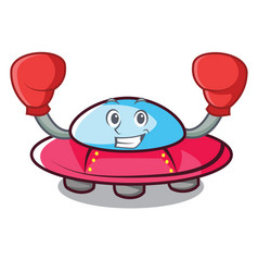 Boxing ufo character cartoon style vector