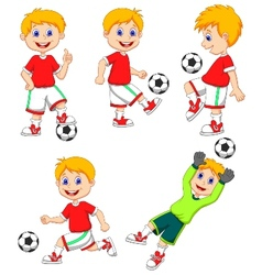 Boy cartoon playing soccer vector image