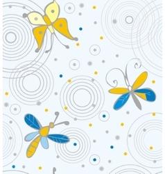 Butterflies and dragonflies on water vector