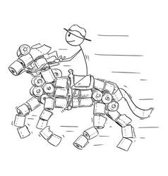 cartoon man or cowboy riding on horse made vector image