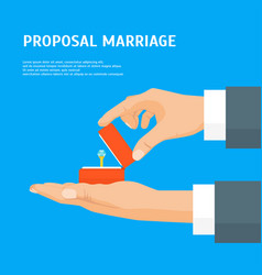 cartoon proposal marriage concept human hands vector image