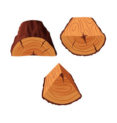cartoon tree triangle-shaped and semi-circle logs vector image