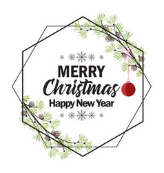 christmas frame with pine branches vector image