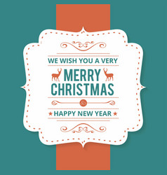 christmas greetings card with dark green vector image