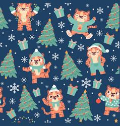 christmas tiger seamless pattern cute cartoon vector image