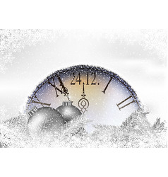 christmas time background with snowy clock vector image