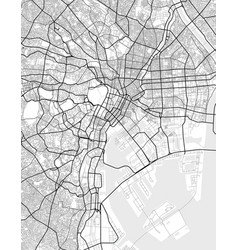 City map of tokyo in black and white vector