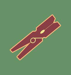 Clothes peg sign cordovan icon and mellow vector
