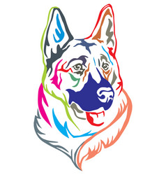 colorful decorative portrait of german shepherd vector image