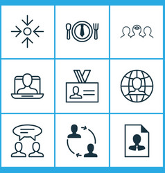 corporate icons set with partnership project vector image