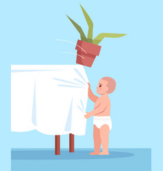 Curious child pulls tablecloth with flower semi vector