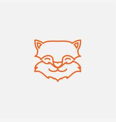 Cute line fox head face logo design vector