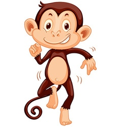 Cute monkey dancing alone vector image