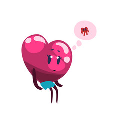 cute pink heart character dreaming about the vector image