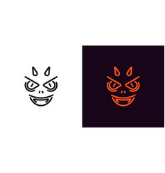 devil silhouette in outline style vector image