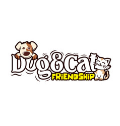 Dog and cat friendship cute animal vector