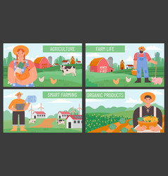 farm banners posters with countryside agriculture vector image