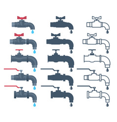 faucet icon water valve silhouette tap with vector image