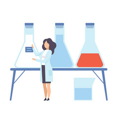 female scientist glues a blue label on flask vector image