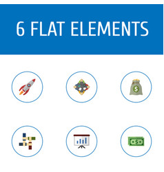 Flat icons rocket income support and other vector