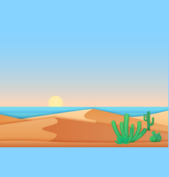 Flat simple design of desert near ocean sea vector