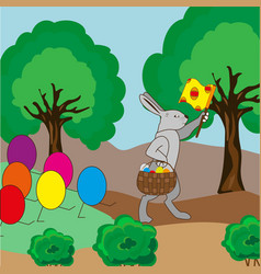 For the easter bunny is a column of eggs vector