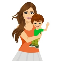 friendly young mother with her little baby vector image
