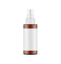 Frosted amber spray bottle with blank label vector