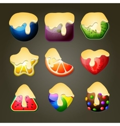 Fruit candies for match three puzzle game with vector image