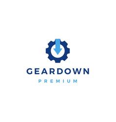 Gear down arrow logo icon vector