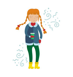 girl in winter clothes with a cup of coffee vector image