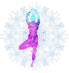 Girl in yoga pose over ornate round mandala vector