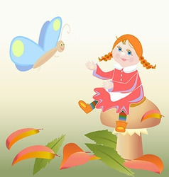 girl sitting on a mushroom and butterfly vector image