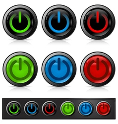 glossy power buttons vector image