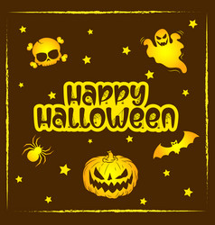 happy halloween scary and spooky drawing vector image