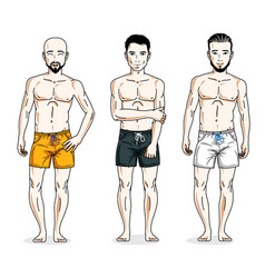 Happy men standing in colorful beach shorts vector
