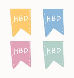 Hbd badge sticker decorative banner design vector