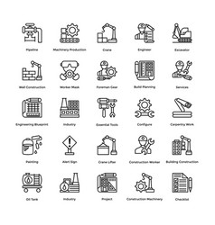 Industrial and construction line icon set 4 vector
